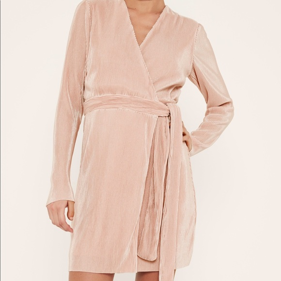 ac985ec58785 Missguided pink pleated long sleeve wrap dress. M_5b7f02425bbb80b5c811a41c